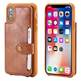 Wallet Cover Case for Apple iPhone Xs iPhone X 2017 5.8inches,Card Slot Wrist Band Leather Protective Kickstand Durable Shell Magnetic Snap Brown Women Men Boy Girl