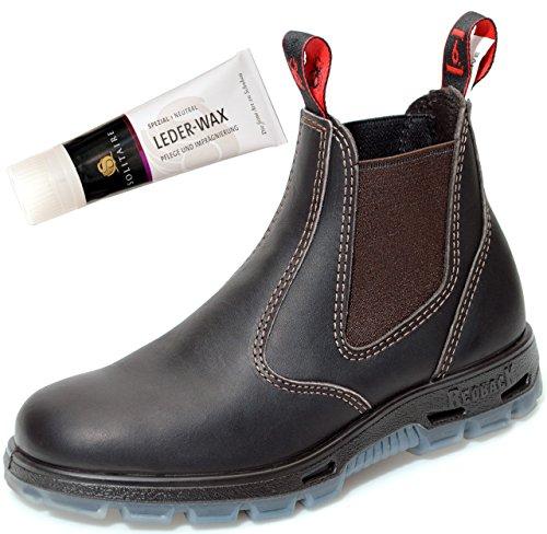 Redback Ubok Bottes De Travail Travaillent Chaussures Unisexe Australie - Brun Claret + Lederwax De Solitaire