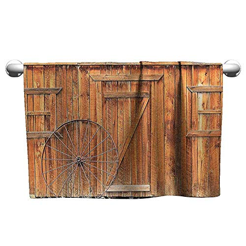 duommhome Western Decor Collection Water-Absorbing Bath Towel Ancient Wagon Wheel Rustic Wooden Vintage Lantern Window and Buckets Picture W12 x L27 Khaki