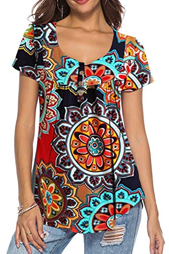 Shirts Tops for Women Plus Size Short Sleeve Boho Printed Tunic Button Up Work Office Blouses V Neck Shirts Orange XL