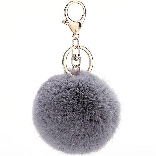 (MODBEAT Pom Pom Key Chain Genuine Rabbit Fur Fluffy Ball KeyChain for Womens Bag Accessories or Car Key Ring or Handbag Decoration (Grey))