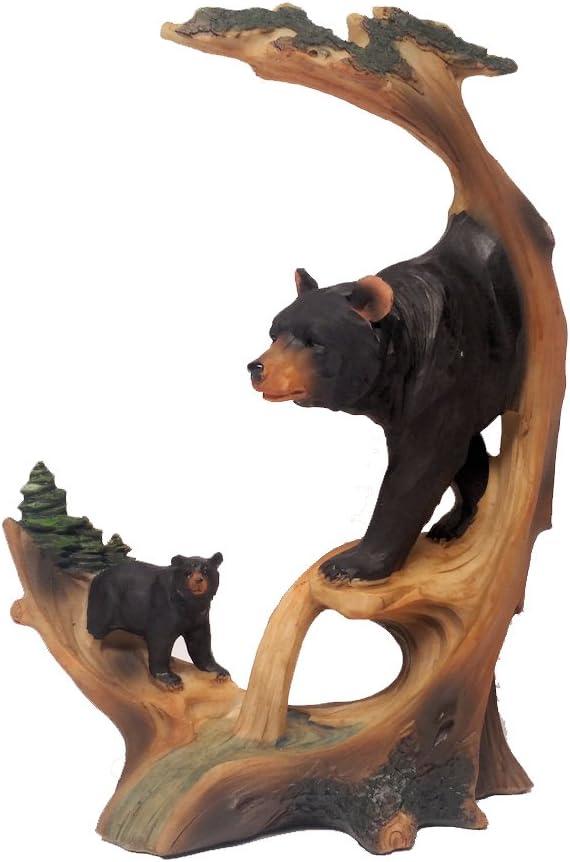"Black Bear Decor Carved Log Look Figurine of Black Bear and Cub, 9"""