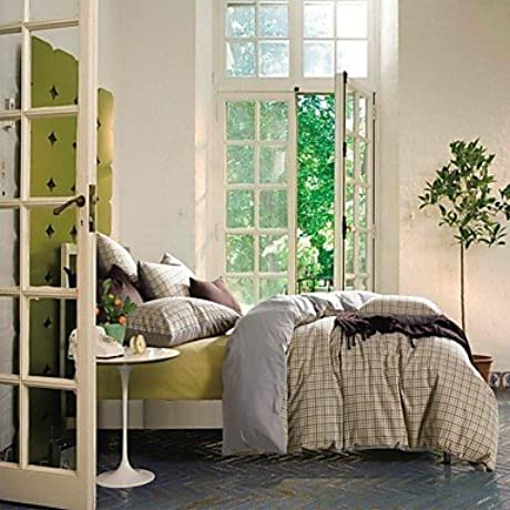 Naluo 100 Cotton Sanded Fabric Duvet Cover Set 3 Pieces Checker Denmark Style