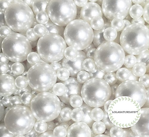 LolaSaturdays Pearls 1-Lbs Loose Beads - no Hole (Assorted, White) ()