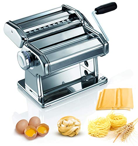 Pasta Maker, 150 Roller Pasta Making Machine with 7 Adjustable Thickness Setting, 2 in 1 Dough Cutter, Hand Crank and Instructions, Kitchen Gift Set for Homemade Noodle Dumpling Skin Spaghetti