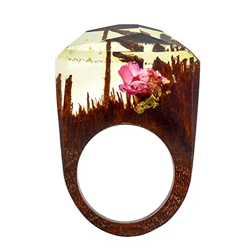 TENGZHEN Jewelry Handmade Wood Resin Rings Magical Miniature Snow Worlds Inside Ring Jewelry For Womens
