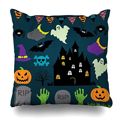 Kutita Decorativepillows Covers 16 x 16 inch Throw Pillow Covers, Halloween Cute Ghost Cartoon Pumpkin Flag Bats Pattern Double-Sided Decorative Home Decor Pillowcase -