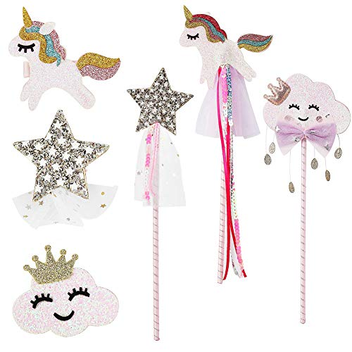 PinkSheep Fairy Wand, Star Wand Unicorn Wand Unicorn Hair Clips, 6PC, Magic Wand White