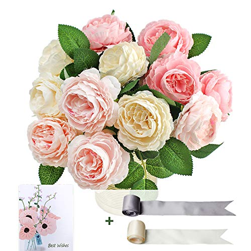 SnailGarden 12 Head Artificial Peony Flowers , 3 Colors, Silk Peony Pink with 2Pcs Satin Ribbon and 1Pcs Greeting Card…