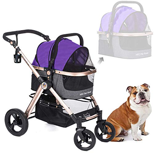HPZ Pet Rover Prime 3-in-1 Luxury Dog/Cat/Pet Stroller (Travel Carrier +Car Seat +Stroller) with Detach Carrier/Pump-Free Rubber Tires/Aluminum Frame/Reversible Handle for Medium & Small Pets (PURPLE) (Best Luxury Stroller 2019)