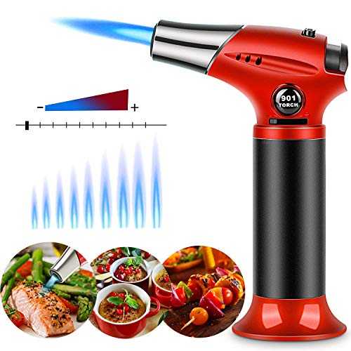 Kitchen Butane Torch Culinary Chef Cooking Blow-Torch Lighter Mini Food Craft Refillable Adjustable Flame Safety Lock for Creme Brulee/Baking/BBQ/DIY Soldering By Sunrich (Butane Gas Not Included)