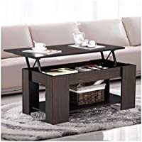 Espresso Modern Wood Lift Top Coffee / End Table with Storage Space Living Room Furniture
