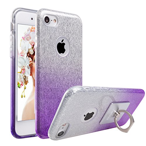 Crystal Bling Case Cover - iPhone 8 and iPhone 7 Case, ZUBA [Sparkling Shine Series] Ultra Slim Glitter Bling Crystal Shock Absorbent Hybrid Case Cover for Apple iPhone 8 and Apple Iphone 7 with 1 Ring Holder Kickstand [Purple]