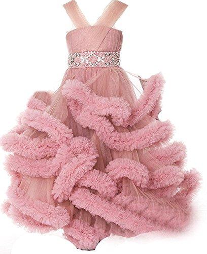 SMJ Girl's Beading Floor Length Ball Gowns Kids Pageant Dress ()