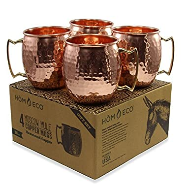 Copper Mugs Moscow Mule Set (Pack of 4 mugs), Pure Solid Copper No Nickel Lining, Hammered Finish, 16 oz