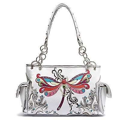 Western Handbag - Colorful Dragonfly Studded Top Handle Satchel Bag