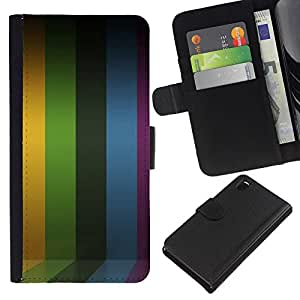 - YELLOW LINES RAINBOW PURPLE STRIPES - - Prima caja de la PU billetera de cuero con ranuras para tarjetas, efectivo desmontable correa para l Funny House FOR Sony Xperia Z3 D6603