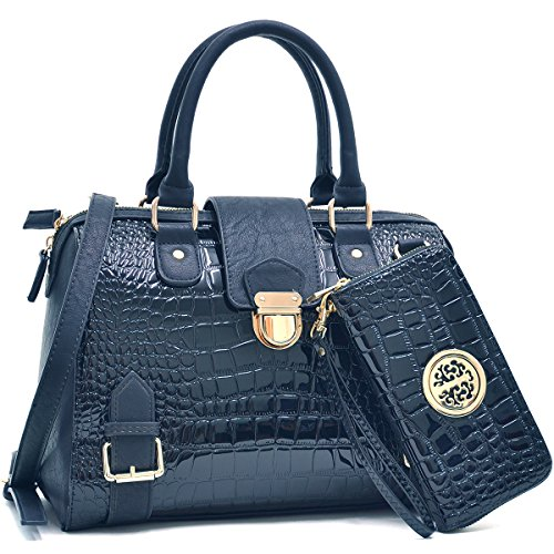 Dasein-Fashion-Designer-Satchel-Handbag-Croco-Structured-Purse-With-Croco-Coin-Purse-Shoulder-Strap