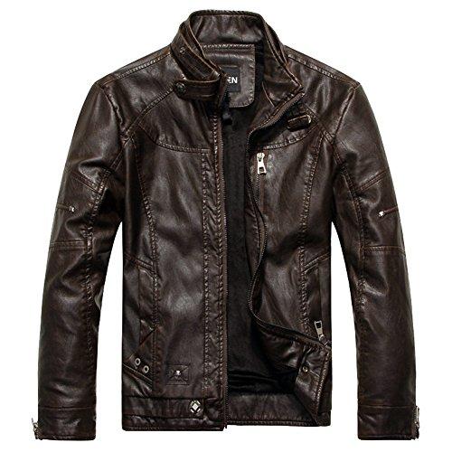 piel sintética Abrigo FMJ001LBRNL marrón Chaqueta Vintage motocicleta los Moto de hombres oscuro LOCOMO Biker d65Pzqd