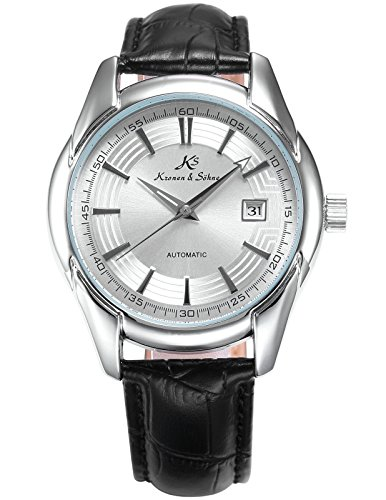 German Mechanical Watches (KS Imperial Men's Analog Automatic Mechanical Date display Leather Band Wrist Watch KS254)