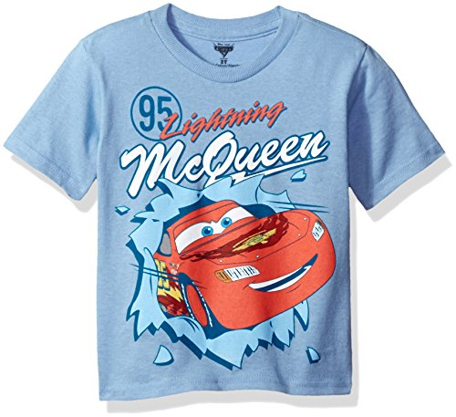 Disney Little Boys' Toddler Cars Short Sleeve T-Shirt, Light Blue, 4T