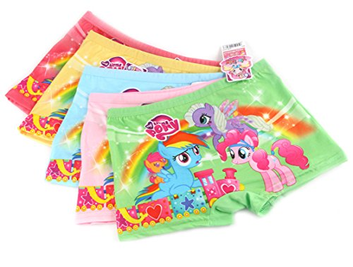 LEMONBABY My Little Pony Little Girls' Assorted Boxer Briefs (Pack of 5) (5-7Y, (Boxer Girls)