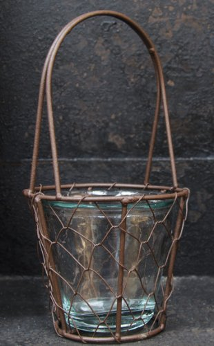 Rustic Chicken Wire Basket With Glass Bottle Insert Country Primitive Décor