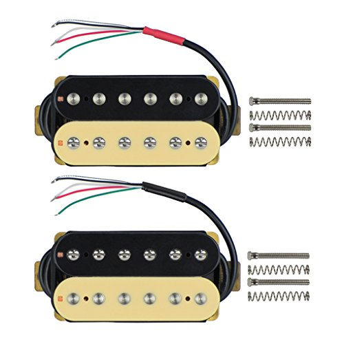 Double Humbucker - FLEOR Electric Guitar Humbucker Pickups Double Coil Guitar Bridge Pickup & Neck Pickups Set - (Black + Cream)