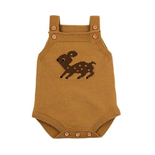 Ziyunlong Baby Romper Toddler Sleeveless Knit Sweater Jumpsuits Cartoon Cute Deer Overalls(0-6M,Brown)