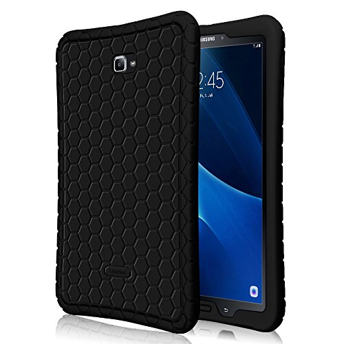 Fintie Silicone Case for Samsung Galaxy Tab A 10.1 (2016 NO S Pen Version), [Honey Comb Series] Light Weight Shock Proof Cover [Anti Slip] [Kids Friendly] for Tab A 10.1 Inch (SM-T580/T585/T587),Black (Tab Cased 3 Samsung Galaxy)