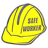 PinMart's Bright Yellow Safe Worker Hard Hat Safety Enamel Lapel Pin