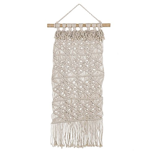 - NOVICA Beige Handmade Cotton and Bamboo Macrame Wall Hanging, 'Woven Scroll'