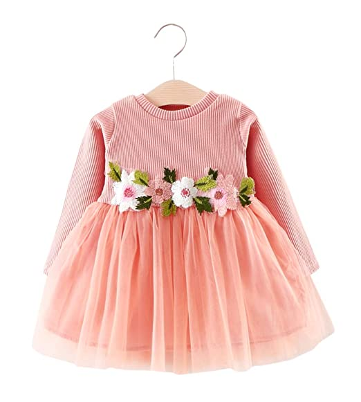 6941bd0e5bc63 Mini honey Toddler Kids Girls Fall Jersey Dress Long Sleeve Floral Tulle  Cap Tutu Dresses Outfit