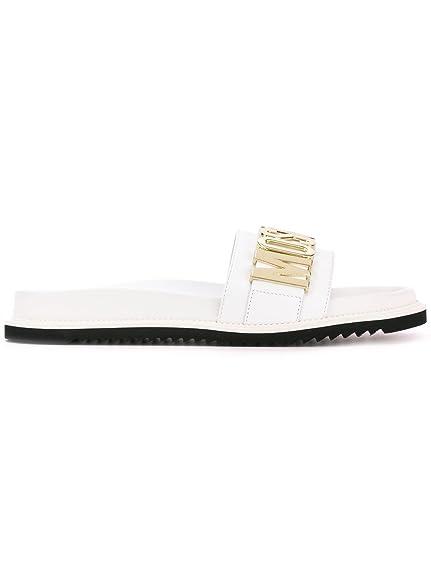 7a979ef0912 Moschino Hombre 563519107 Blanco Cuero Sandalias  Amazon.es  Zapatos y  complementos