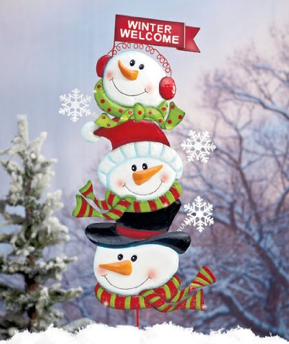 whimsical cute metal winter welcome christmas stacked snowman stake garden outdoor holiday yard decoration