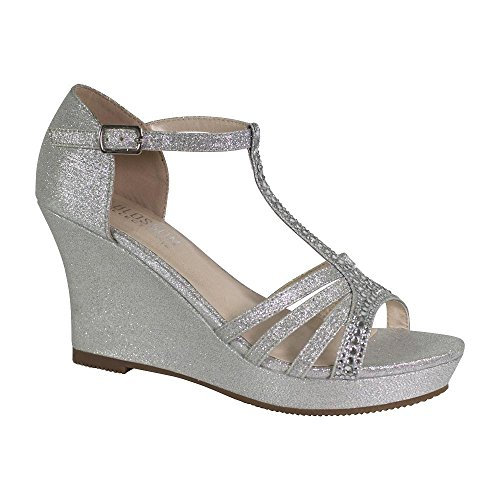 De La Collection De Fleurs Womens Strappy Strass Embelli Sparkle Habillé Plate-forme Wedges Argent