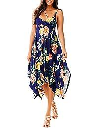 Ruiyige Women Summer Off Shoulder Floral Dress Casual Sleeveless Irregular Dress