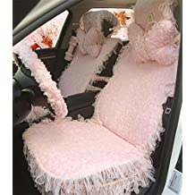 XUEER Dream Pink High-grade Ladies Cute Cartoon Car Seat Cover Seat Lace Women Special Car Neck Pillow Car Accessories