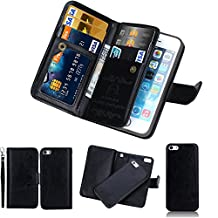iPhone SE Detachable Wallet Case, SOUNDMAE 2-in-1 Magnetic Removable Multi-function 6 Card Slots Cash Holder Folio Flip PU Leather Wallet With Wrist Strap Case Cover For iPhone SE [Black]