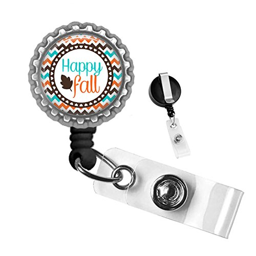 Happy Fall Silver Retractable Badge Reel ID Tag Holder by Geek -