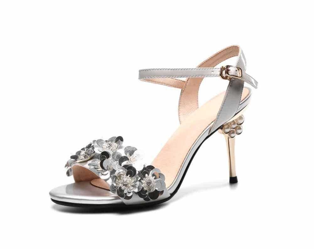 SHINIK Frauen Open-Toe Sandalen 2018 Neue Pailletten verziert hohlen High-Heel Fashion Knouml;chelriemen Pumpen  37|Silber