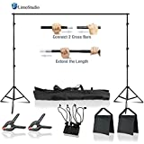 LimoStudio 10 x 8.5 ft Adjustable Photo Video Background Muslin Stand, Backdrop Support System Kit with Accessories, Spring Clamp, Sand Bag, AGG2612