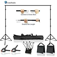 LimoStudio Photo Video 10 feet Width Adjustable Background Muslin Stand, Backdrop Support System Kit with Accessories, Spring Clamp, Sand Bag, AGG2612