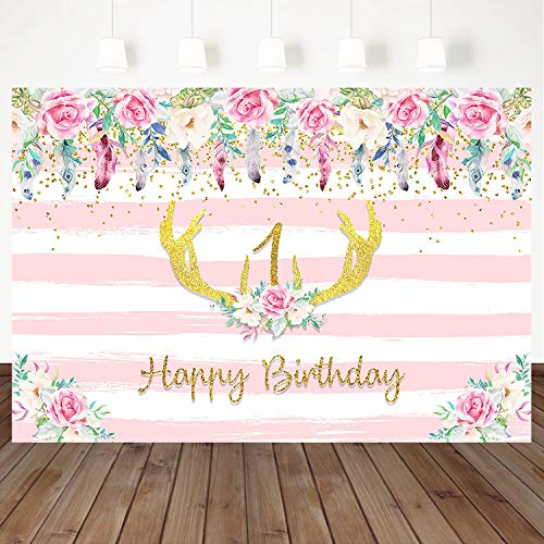 (Mocsicka Happy 1st Birthday Backdrop Pink Striped Floral Photography Background 7X5 Ft Vinyl Antlers Decorated Cake Table Children Kids Birthday Party Banner Background)