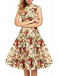 Womens 1950s Hepburn Style Vintage Floral Garden Cocktail Party Swing Dress