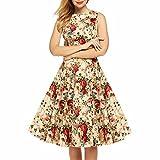 Samtree Women's 1950s Hepburn Style Vintage Floral Garden Cocktail Party Swing Dress(XL(12),Beige Floral)