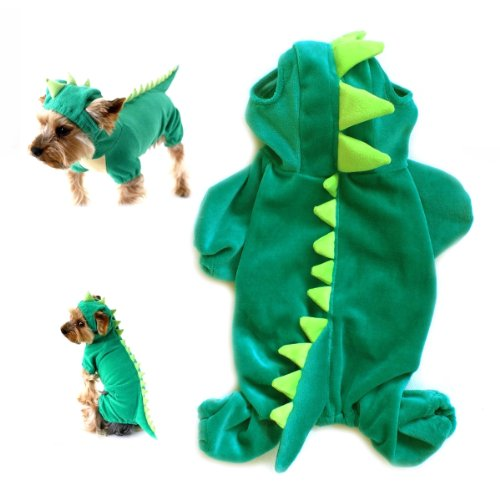 Gollyking Dog Cat Hoodie Plush Clothes Apparel Dragon Dinosaur Costume With Four Legs for Small Puppy Pets Jumpsuit Winter Coat Warm Crocodile Shirts (Dinosaur Dog Costume)
