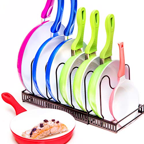 Expandable Pots and Pans Organizer - Holds 7 Pans & Lids to Keep Cupboards Tidy - Adjustable Bakeware Rack for Kitchen and Cabinets