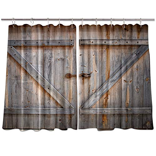 NYMB Rustic Country Wood Kitchen Window Curtains, Wooden Door of The Entrance to The Barn Curtains Panels, Kitchen Decorations Window Drapes, Window Treatment Sets with Hooks, 55X39Inches