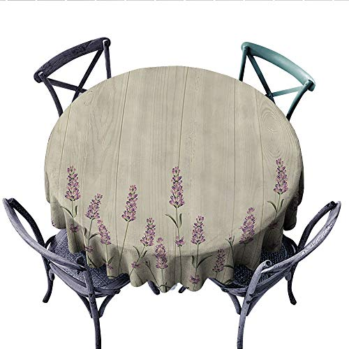 Lavender Dinning Tabletop DecorAromatic Herbs on Wooden Planks Springtime Nature Botany Illustration Dust-Proof Round Tablecloth (Round, 70 Inch, Beige Lilac Sage Green)